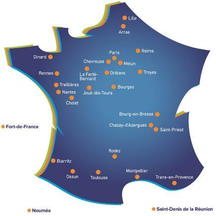Carte des offices du Groupe Monassier